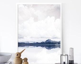 Mountain Print, Minimalist Landscape Print,  Monochrome Art , Snow Print, Decor Gifts, Nature Art, 50x70cm/18x24in,Nordic,Affiche Scandinave