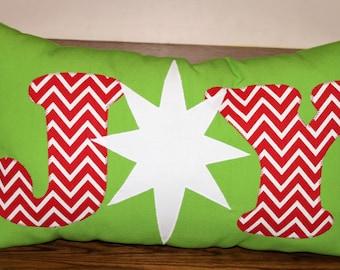 Joy Pillow, Joy Applique Pillow, Christmas Pillow, Christmas Applique Pillow, Holiday Pillow, Christmas Decor Pillow, Christmas Decor Ideas