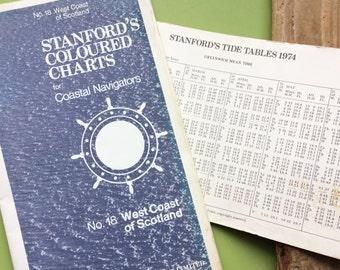 Nautical chart , Stanford's coloured charts , coastal navigators charts , scottish coastal chart , west coast of Scotland , maritime chart