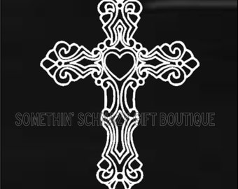 Cross Car Decal, Christian Decal, Christian Car Decal, Religious Decal, Vinyl Decal, Gift For Her, Gift For Him, Cross Decal, Cross Gift