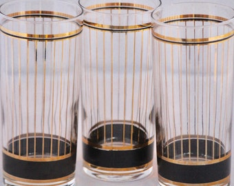 Black and Gold MidCentury Barware//Set of 3 Glasses