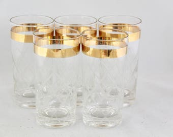 SALE! Vintage Crystal Glasses with Gold Band/Set of 5