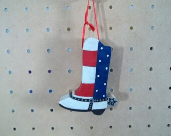 Patriotic Boot Ornament Handmade and Hand PaInted
