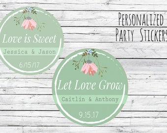 Personalized Love is Sweet, Wedding Stickers, Favor Tags, Love is Sweet Favor Stickers, Wedding Labels, Printed Labels, Monogram, Script