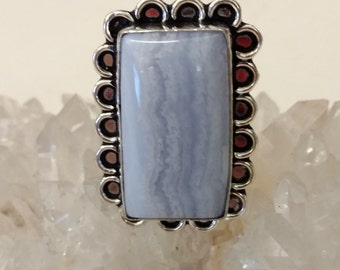 Blue Lace Agate Ring Size 9