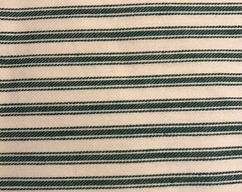 "Green and Off-White Woven Ticking, 61"" Wide, Mission Valley, 100% Cotton"