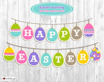 Easter bunting classroom decoration. Easter banner. PDF File ready to print. Instant download. Printable easter banner photo prop.