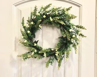 Ready to ship Spring wreath, green wreath, farmhouse wreath
