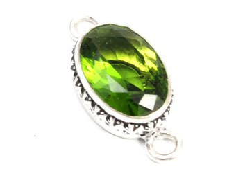 Green Peridot Connector with Sterling Silver. Green Connector. Green Stone Connector. Green Oval Connector. Oval Peridot 20mm x 16mm