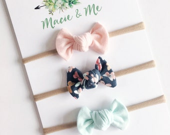 Light Pink, Pastel Butterfly and Light Blue Tied Bows / Toddler Bows / Hair Clip / Nylon Headband / Tied Bows / Modern Bows / Macie and Me