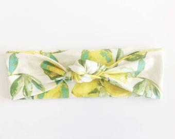 Lemon Top Knot Headband / Knotted Headband / Baby Turban / Baby Gift / Toddler Headband / Macie and Me / Adult Headband