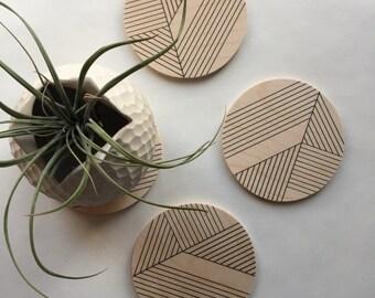 Art deco Geometric wood coasters / midcentury modern coasters/ boho  minimal coasters /geometric coasters / modern decor gift for her
