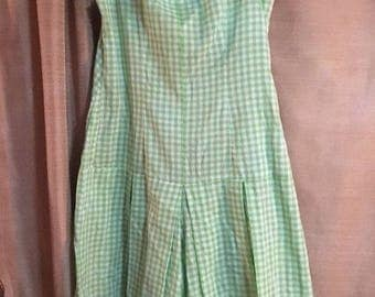 Green and white check Romper