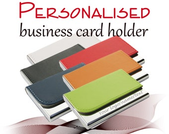 Personalised Business Card Holder *** laser engraved with name/logo ** UK Gift ** free UK delivery ** 6 colours