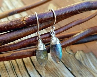 Labrodite Earrings - Sterling Silver Earrings - Wire Wrapped Earrings - Boho Earrings - Beaded Labrodite - Marquise Earrings - Natural Gems
