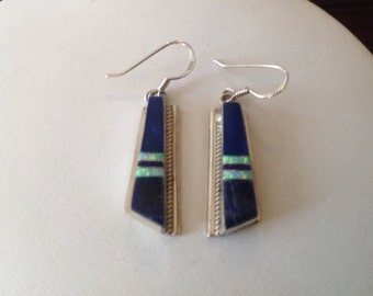 Sterling Silver Lapis Earrings with Opal Inlay...Signed SF