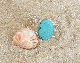 Sterling Silver and Turquoise Cuff Bracelet, Mohave Turquoise and Sterling Silver Cuff, Sterling Silver Cuff, Adjustable Cuff Bracelet