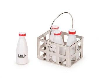 Milk Crate with Milk Bottles - Assorted Sizes - 1 set