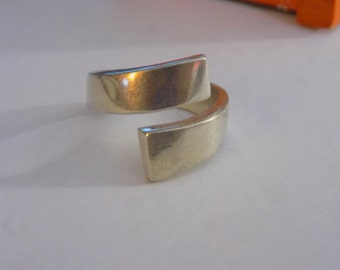 Thick sterling silver split band ring size 8