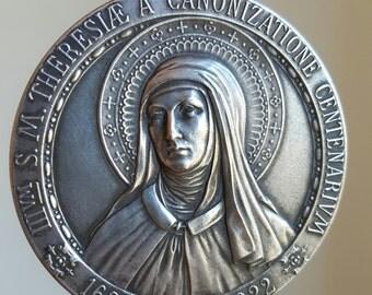 Large Vintage Spanish Saint Teresa Medal St. Teresa of Jesus Avila Theresa Medal Catholic Gift Religious Gift Catholic jewelry Art Deco