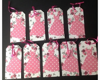 Gift tags of 1950's pink dresses