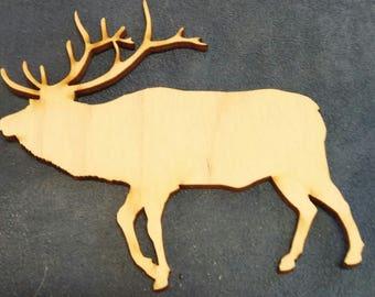 Elk wood cutout painting