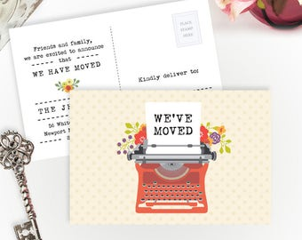 PRINTED Moving announcements | We've moved postcards | 4X6 moving cards with typewriter | Change of address cards cheap | Pack of 40