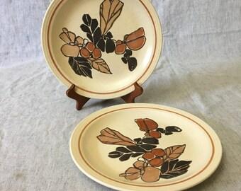 Vintage Homer Laughlin Brown Leaves Dinner Plate, Pattern HCL229, Set of 2