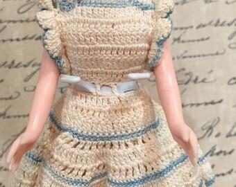 Vintage Sleepy Eye Doll white dress light blue trim