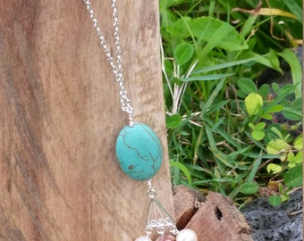 Turquoise w/pearl and agate necklace