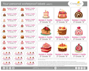 Desserts - Your personal waterproof labels (68 Qty) Free Shipping