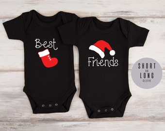 Twin Christmas Outfits, Twin Gifts, BEST FRIENDS Matching Black Bodysuits, Twin Newborn Outfits, Twin Baby Clothes, Twin Photo Props, Twins