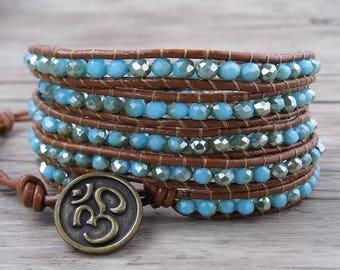 AB crystal Beads Bracelet Blue Beads Bracelet Grass Crystal Bracelet Boho Bracelet Summer Style Bracelet Leather Wap Bracelet SL-0513