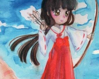 Kikyo inu-yasha watercolor art