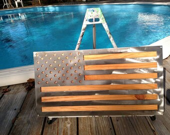Metal American Flag with stained wood backing