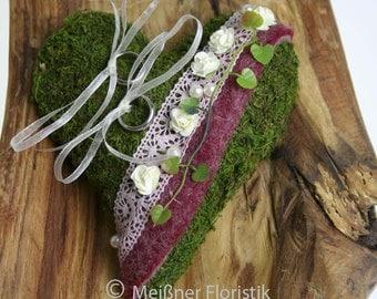 Ring pillow Moss heart cream pink bordeauxe