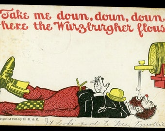 1905 Down Where the Wurzburger Flows - Hobo under the tap postcard
