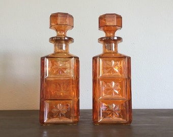 Vintage Barware; Orange Carnival Glass Decanters; Mid Century Barware; Orange Glass Decanters; Carnival Glass; 1960s Barware