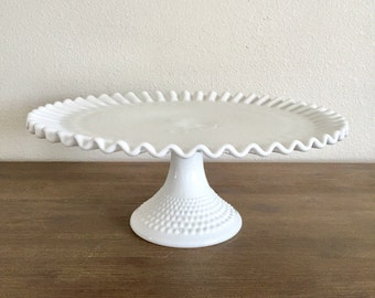 Milk Glass Cake Stand; Fenton Hobnail Glass; Vintage Wedding Decor; Pedestal Cake Stand; White Cake Stand; Fenton Glass Cake Stand