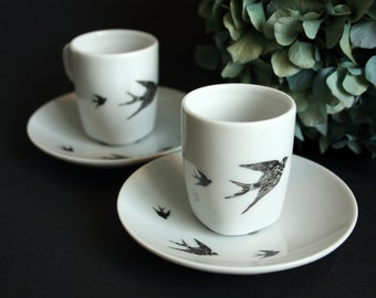 Set of espresso cups   Swallows