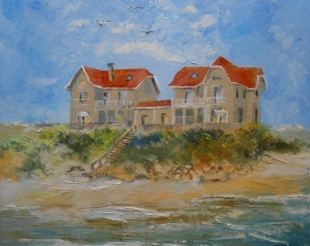 Painting landscape Houses on sand dune