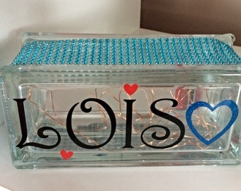 Personalised name half size glass block night light, nursery decor, light up gift