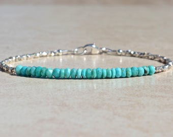 Turquoise Sleeping Beauty Bracelet, December Birthstone, Beaded Bracelet, Gemstone Bracelet, Natural Turquoise Birthstone, Gift for Her