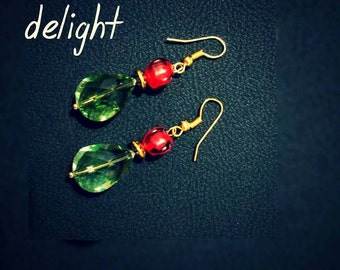 Beautiful  Glass Bead Earring in Green and Red Color