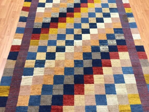 "4'10"" x 6'4"" Persian Gabbeh Oriental Rug - Hand Made - 100% Wool"