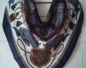Large Classic silk scarf by Kathie Lee // large silk square scarf, ropes tassels crests and fleur de lis motifs