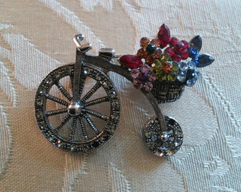 Bicycle Brooch with Floral basket by LaBelle, 1960's // silver and rhinestone bicycle pin