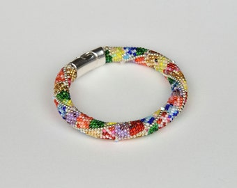 crochet bracelet colored with crystal bicones, seed bead bracelet, beaded bracelet Colorful Beadwork Jewelry