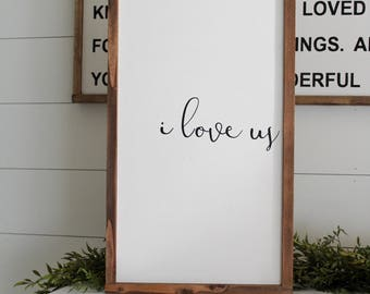 I Love Us | Framed Wood Sign | Farmhouse Decor