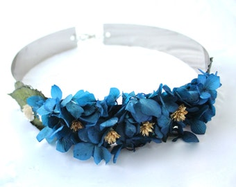 Flower,preserved,dried,navy,belt,accesorie,boho,elegant,chic,handmade,design, natural,boho